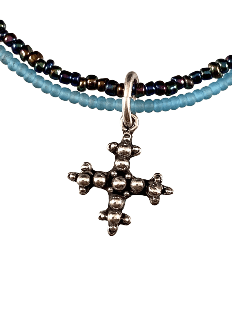 Sterling Cross Charm Double Strand Beaded Anklet Turquoise & Iridescent