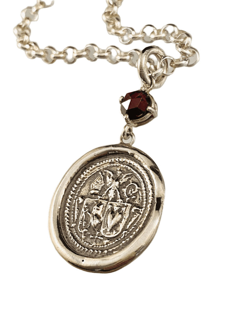"18"" Sterling Silver Crest Necklace with Rose Cut Garnet"