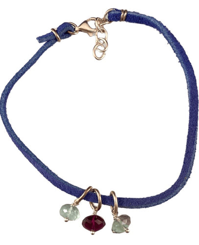 Blue Suede Fluorite Bead Charm Sterling Silver Anklet