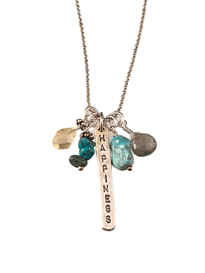 "16"" Happiness Matchstick Gem Charm Necklace Turquoise Labradorite & Citrine"