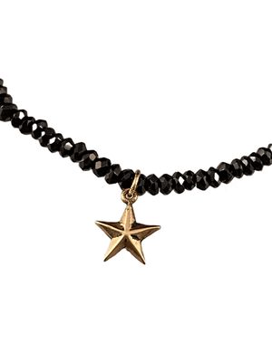 #1003 Faceted Black Garnet 14K Gold Delicate Star Charm Bracelet