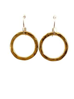 Yellow Gold Vermeil Hammered Circle Earrings