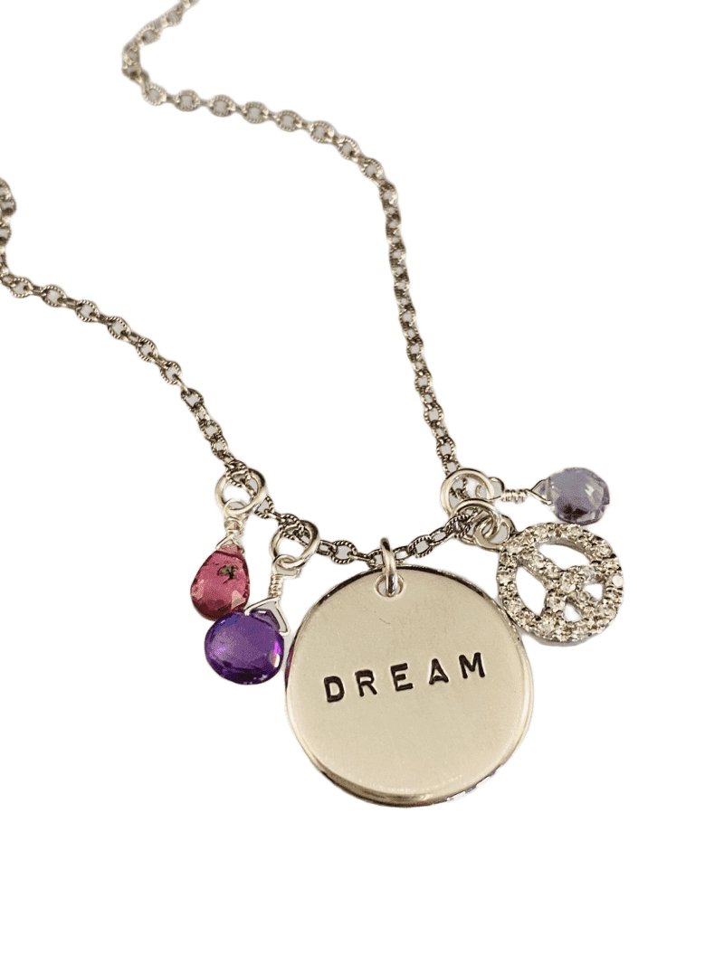 "16"" Dream & Peace Gemstone Charm Necklace"