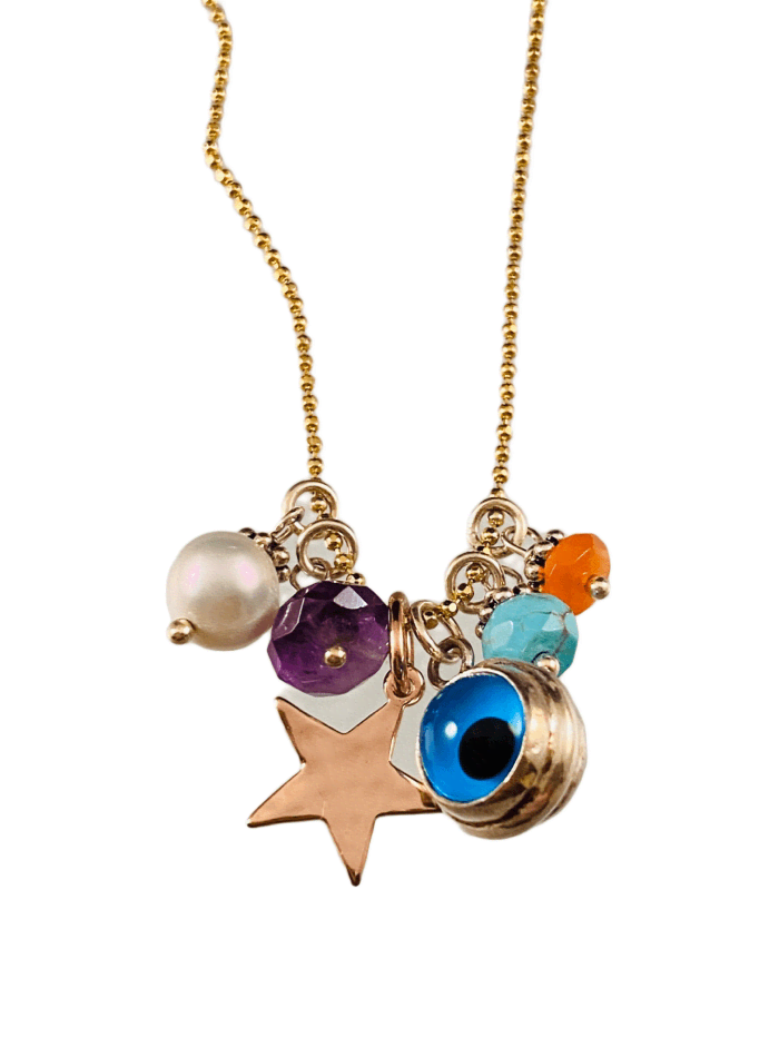 "16"" Yellow Gold Evil Eye Star and Gemstone Charm Necklace"