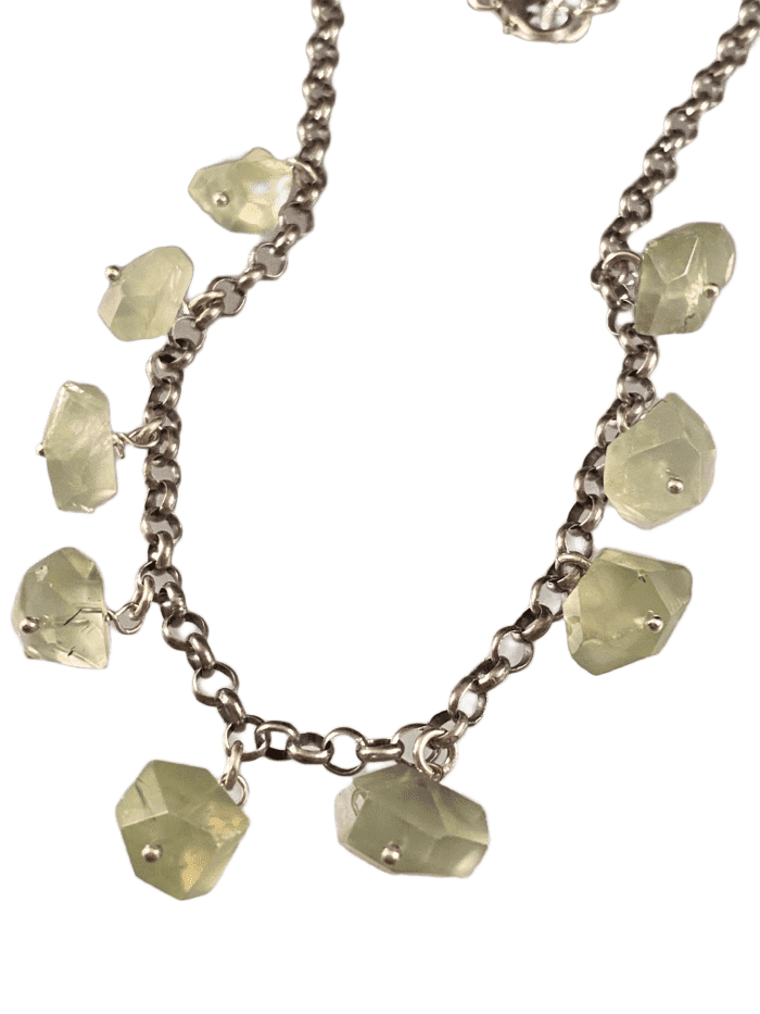 "16"" Faceted Prehnite Gemstone Sterling Silver Charm Necklace"