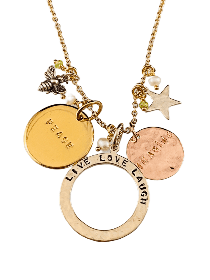 "16"" Gold & Sterling Silver Live Love Laugh Multi Charm Necklace"