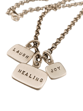 "18"" Sterling Silver Healing Laugh Joy Tag Charm Necklace"
