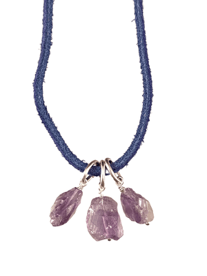 "16"" Amethyst on Colored Suede Necklace"