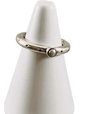 Sterling Silver Stamped Pearl Ring Size 6 1/2 Handmade