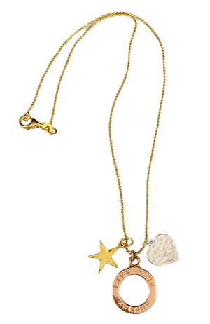 "16"" Tri-color Vermeil 'Live Your Dreams' Charm Necklace"