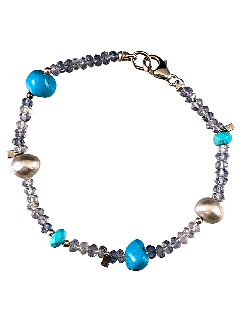 Faceted Iolite Turquoise and Pearl Gemstone Beaded Bracelet
