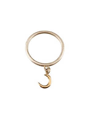 Sterling & 14K Gold Tiny Crescent Moon Charm Ring Size 6