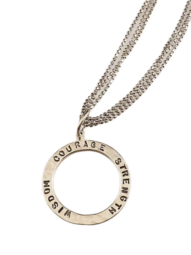 "16""-18"" Sterling 'Wisdom Courage Strength' Hammered Circle Necklace"
