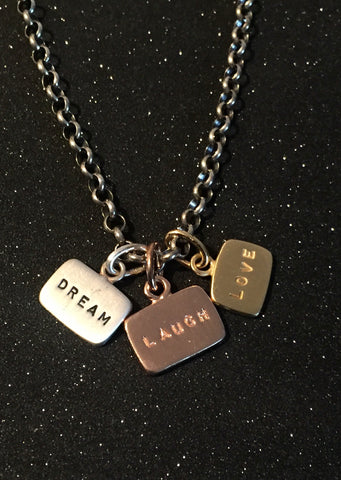 Tri-color Vermeil Dream Laugh Love Tag Charm Necklace