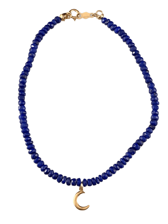 Faceted Lapis 14K Gold Delicate Crescent Moon Charm Bracelet