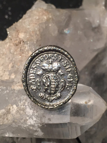 Sterling and Diamond Coat of Arms Ring size 8