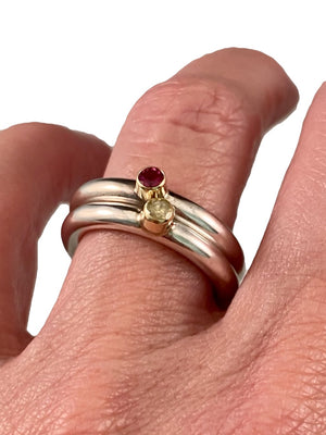 Sterling & 14K Gold Ruby Ring