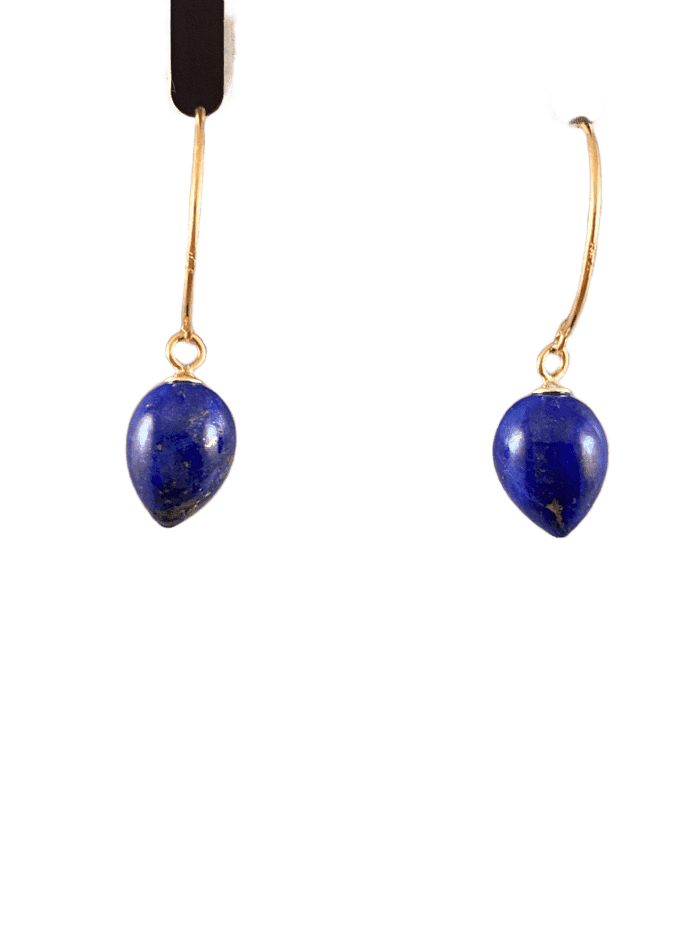 14K Gold Lapis Tear Drop Earrings