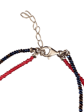 CZ Peace Sign Double Strand Beaded Anklet Mixed Blue & Red