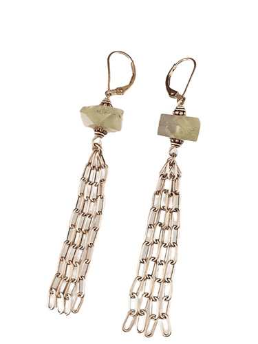 Sterling Fringed Chain Earrings in Prehnite