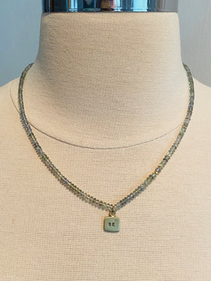 "18"" Graduated Prehnite Beads with 14k Gold Diamond 'BE' Tag Charm Necklace"