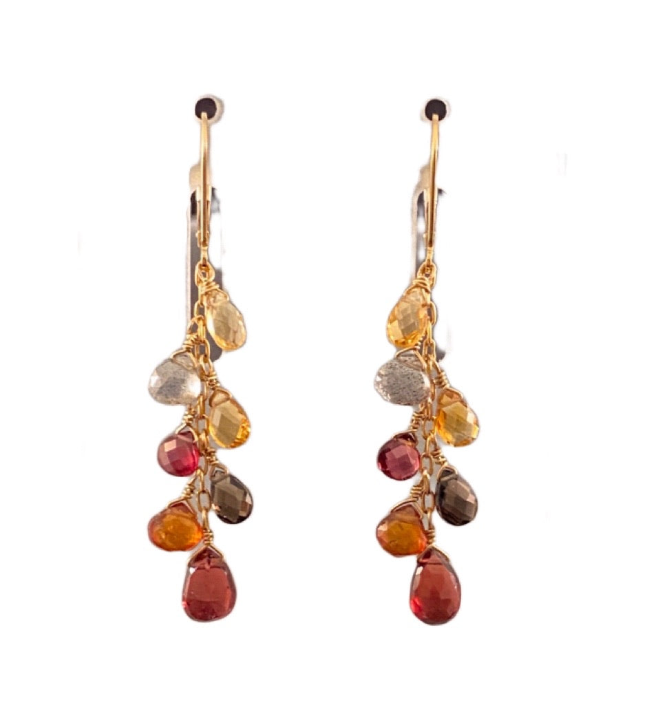 Garnet Citrine Smokey Quartz Yellow Gold Waterfall Gemstone Earrings