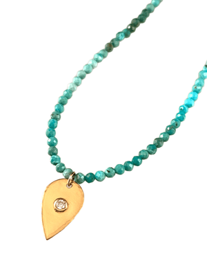 "18"" Faceted Turquoise Beads with 14k Gold Diamond Tear Drop Charm Necklace"