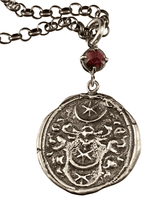 "18"" Sterling Silver Crest Crescent Necklace with Rose Cut Garnet"