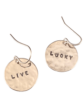 Sterling Silver Mix & Match Hammered Disc Word Earrings
