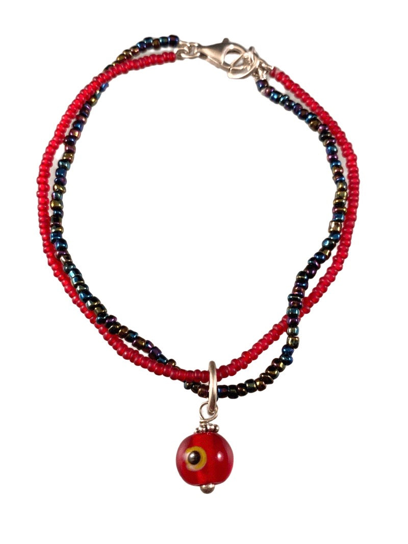 Evil Eye Red Glass Double Strand Beaded Bracelet