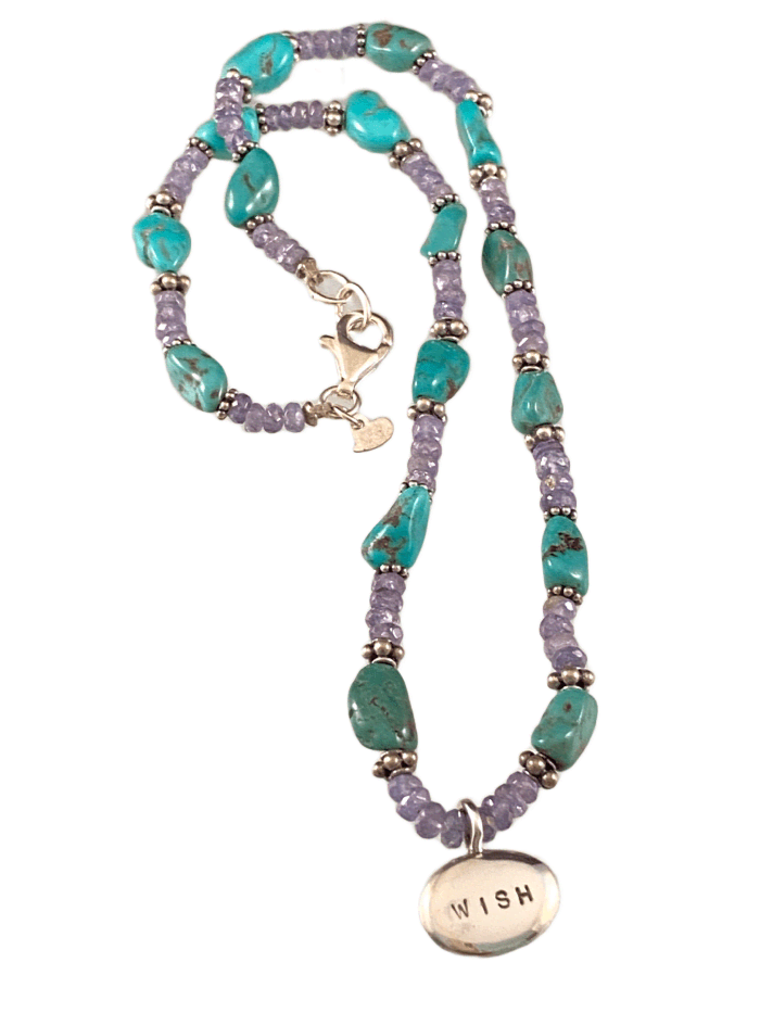 #200 Tanzanite & Turquoise Wish Nugget Beaded Necklace