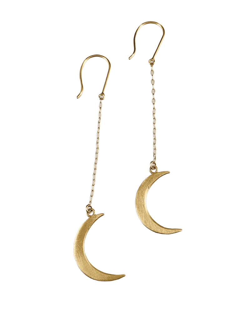 14K Gold Crescent Moon Earrings