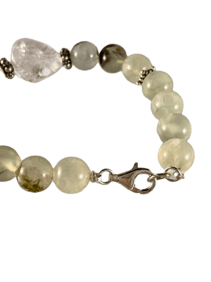 Prehnite Gemstone and Quartz Crystal Gemstone Bracelet