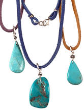 "16"" Turquoise on Colored Suede Necklace"