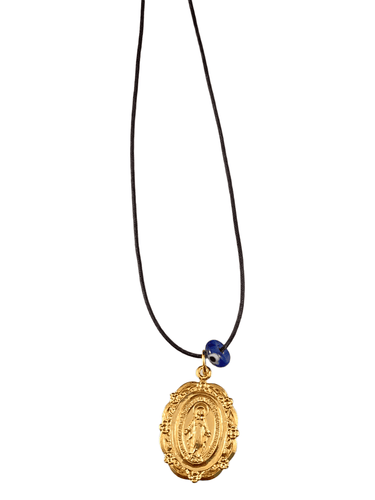 Yellow Gold Large Miraculous Mother Mary Medal on Black Cord with Evil Eye Necklace