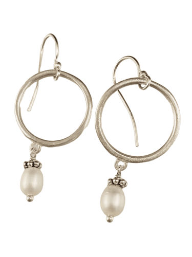 Sterling Circle and Pearl Drop Earrings