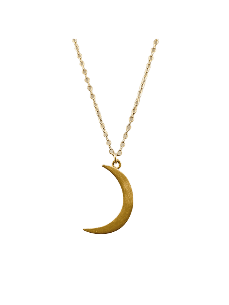 "14k Gold 16"" Crescent Moon Necklace"