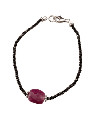 Faceted Black Garnet Gemstone Bracelet with Faceted Ruby