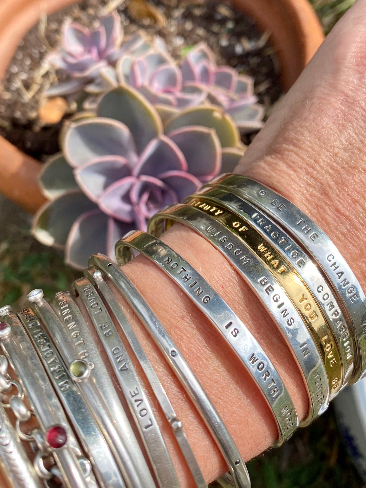 Sterling Silver Stamped Inspiration Bangle Bracelet