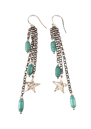 Sterling Hammered Star & Turquoise Chain Earrings