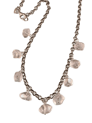 "16"" Faceted Rose Quartz Gemstone Sterling Silver Charm Necklace"