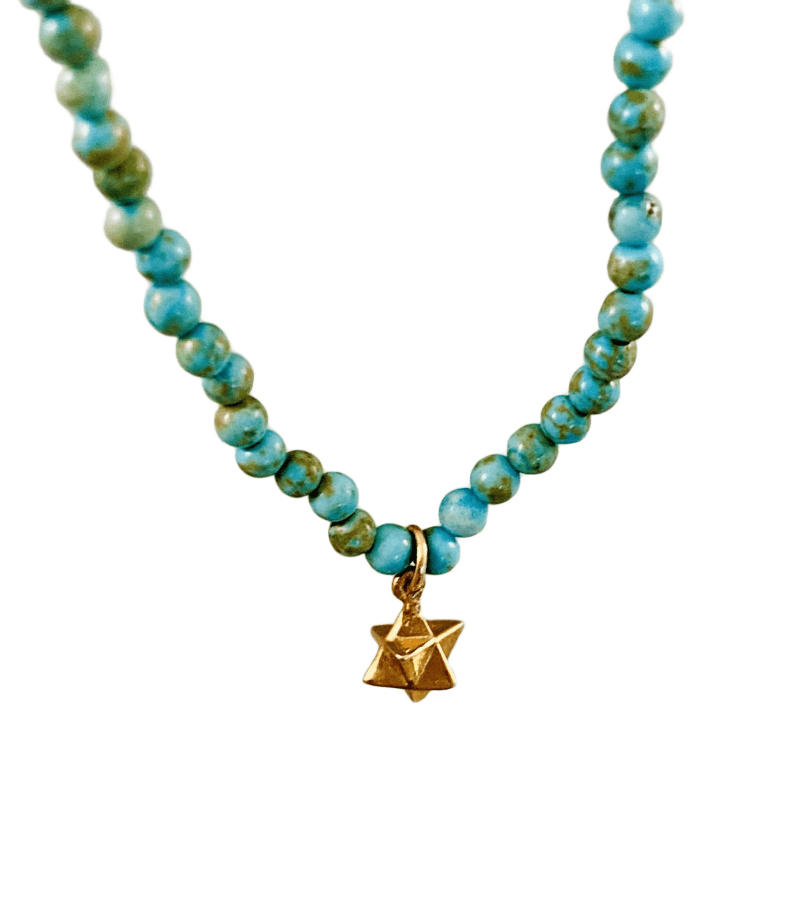 "16"" Turquoise bead and 14k Gold Merkabah Charm Necklace"