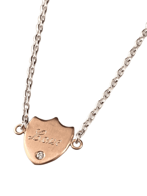 "#235 18"" 18k Rose Gold 'Love' Shield Necklace with Diamond on Sterling Chain"