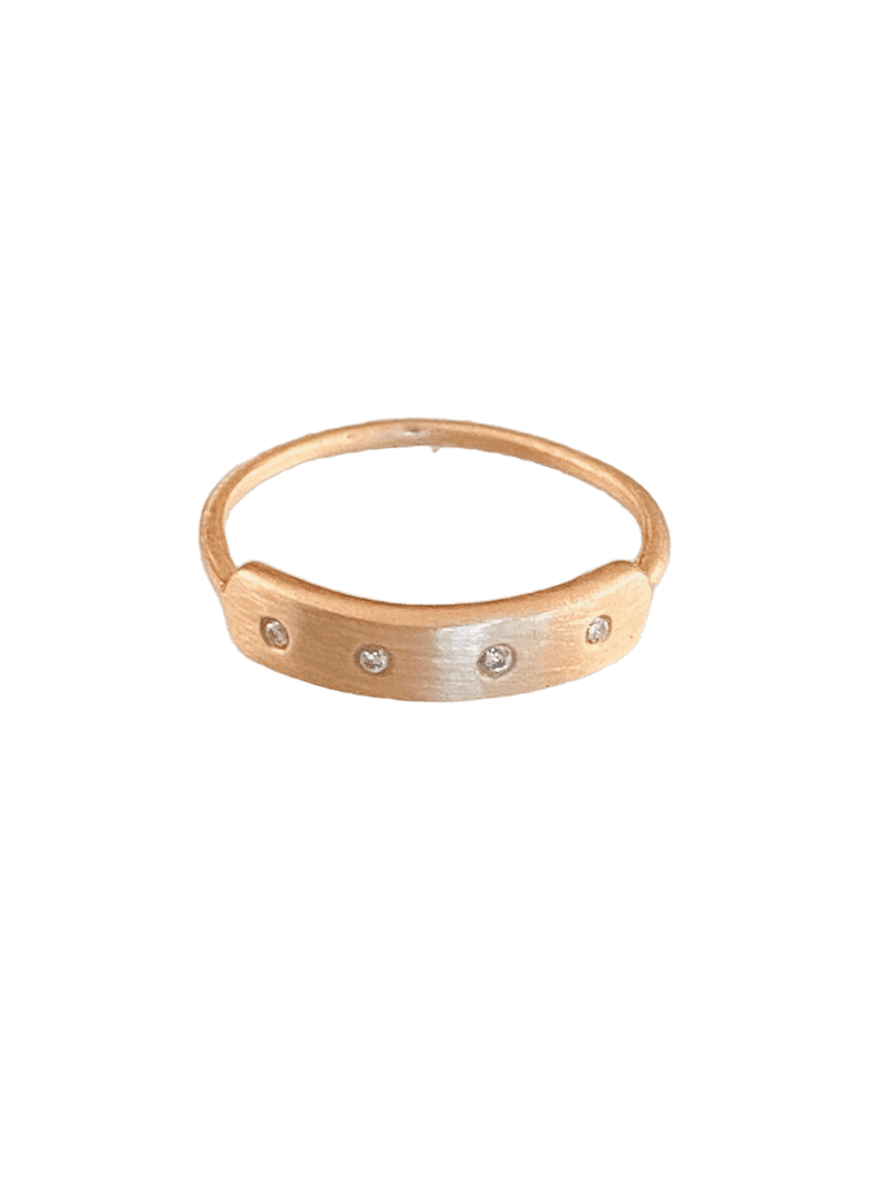14K Solid Rose Gold Diamond Ring