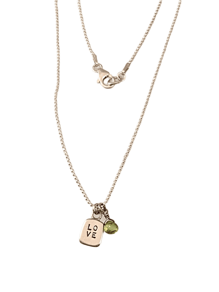 Sterling Tiny Love Tag & Peridot Charm necklace