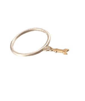 Sterling & 14K Gold Tiny Arrow Charm Ring