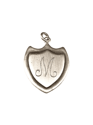 Engraved Large Trident Shield 'M' Initial