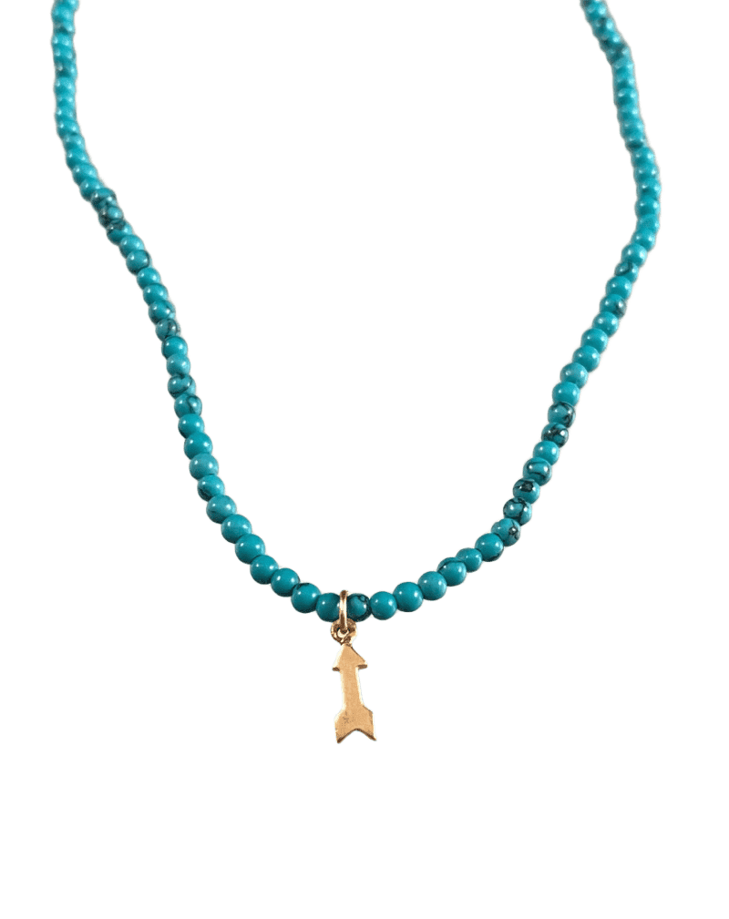 "15 1/2"" Turquoise Bead and 14k Gold Arrow Charm Necklace"