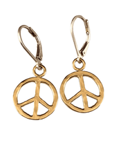 Yellow Gold Vermeil Small Hammered Peace Sign Earrings