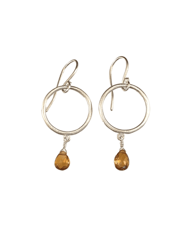 Sterling Circle and Citrine Drop Earrings